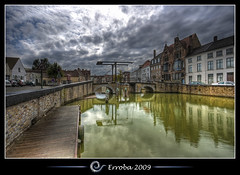 Small bridge :: Bruges :: Belgium :: HDR (Erroba) Tags: houses sky brick water clouds photoshop canon rebel belgium belgique tripod belgi sigma tips bruges remote 1020mm erlend hdr cs3 3xp photomatix bugge tonemapped tonemapping xti 400d reie potterierei langerei erroba robaye erlendrobaye bridgemedeival