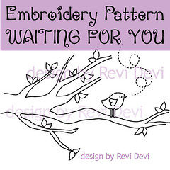 Waiting For You (revi1001) Tags: tree bird nature birdie design branch pattern embroidery etsy whimsical