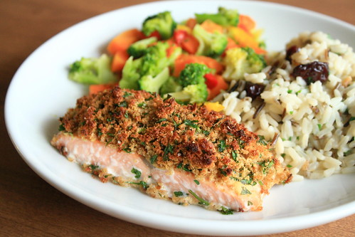 Herb-Crusted Salmon, Pilaf and Veggies