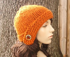 Chunky Cloche Hat in Pumpkin With Vintage Button