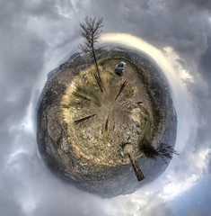 scorched little planet -- pendeli:  22/365 (helen sotiriadis) Tags: forest canon fire athens greece burn canon350d 365 canonrebelxt hdr canonefs1022mmf3545usm photomatix penteli pendeli littleplanets   toomanytribbles