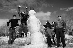 Happy Isfahan :) (Shapour_3) Tags: people blackandwhite bw snow snowman iran iranian  esfahan iranians alireza isfahan youngpeople youngs    shapour alirezanajafian    shapour3  ahappydayinisfahanwithsnow     1387 nearzayandehroud isfahanipeople snowydayinisfahan