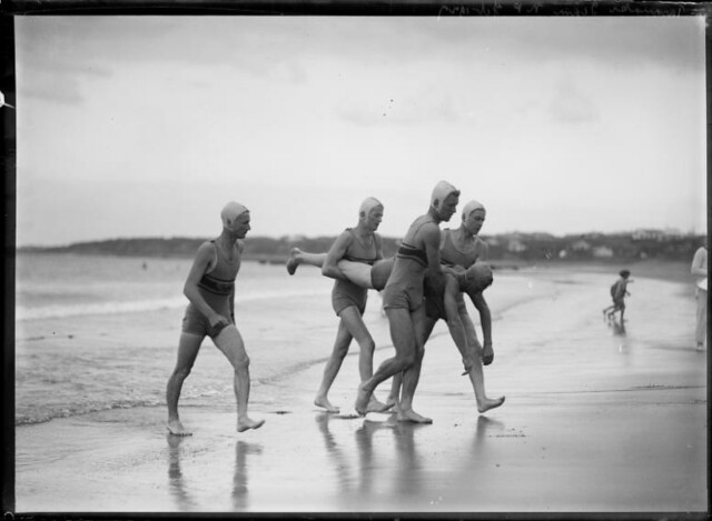 Life-saving drill, probably on unidentified Taranaki beach. ca 1920s-1930s