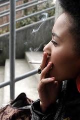 smoking teen 2. (Holveck) Tags: city urban black girl cigarette smoke afro steps smoking teen camel pack teenager earrings goregous flawless