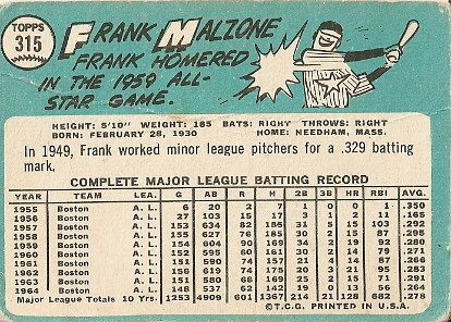 Frank Malzone (back) by you.