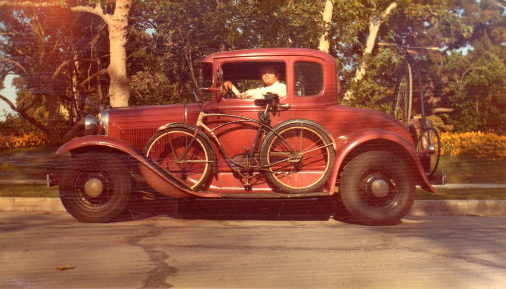 April 17,1976, Me, My Iron Mistress, 1954 Schwinn Meteor & a Boneshaker on the back bumper...