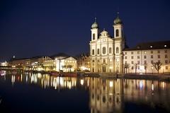 Lucerne by night (Mikaik) Tags: switzerland swiss lucerne riverreuss 5dmarkii