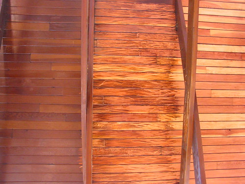 Douglas fir ceiling, stages of sanding