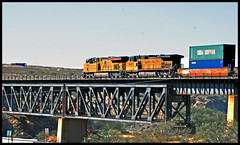 Union Pacific on Cienega Bridge (Saqib Karori - TucsonRailfan) Tags: bridge train tucson unionpacific locomotive cienegacreek sunsetroute saqibkarori