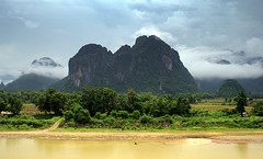 The View (Scott Foy) Tags: trees mountains clouds canon river asia seasia southeastasia view cliffs hills limestone laos vangvieng indochina karsts namsong 400d scottfoy elephantcrossinghotel phadeng