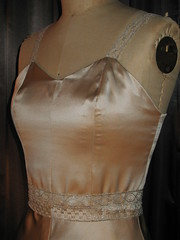 Handmade Champagne Silk Wedding Dress Top Detail (Bobbins and Bombshells) Tags: champagne retro weddingdress custom frenchlace silkcharmeuse bobbinsandbombshells