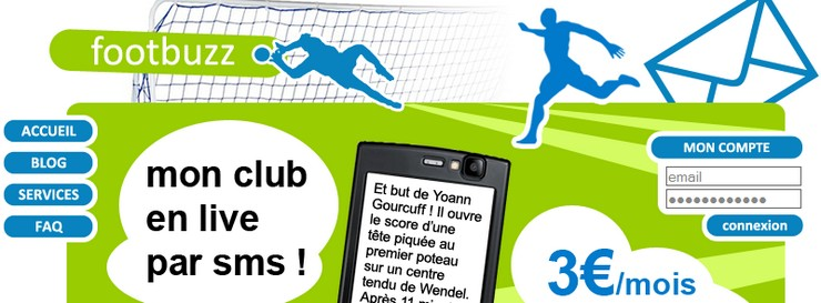 Footbuzz live sms composition buts mobile
