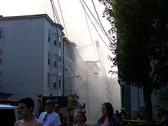 disaster down the street (Sam T (samm4mrox)) Tags: morning fire chaos smoke maine disaster damage unexpected firefighters lewiston disasters kodakz8612