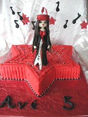 bratz rock star (The Whole Cake and Caboodle ( lisa )) Tags: red newzealand black rock star rockstar guitar whangarei bratz electricguitar fondant buttercream musicnotes caboodle fondantfigurejade thewholecakeandcaboodle