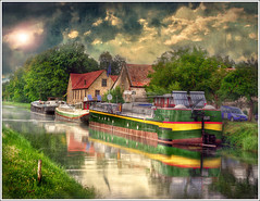 Pause (Jean-Michel Priaux) Tags: france art water photoshop river painting way landscape deutschland duct boat canal eau quiet transport dream houseboat peinture dreaming reflect alsace paysage pniche rhein barge hdr waterway anotherworld chenal rhin nordhouse priaux mywinners plobsheim infinestyle vanagram