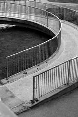 (many_dimensions) Tags: bridge blackandwhite black metal concrete ramp walkway railing runcorn