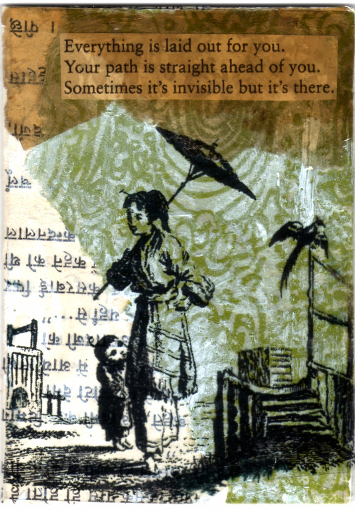 mixed media ATC by Bronwyn Simons, teacher of Artful Life creativity and life balance retreats and workshops for women