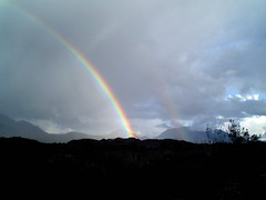 Rainbow outside Queenstown, Tasmania