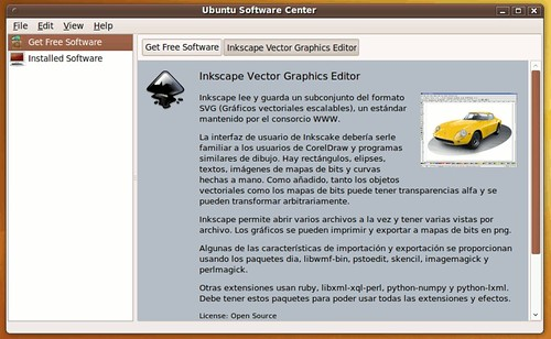 Ubuntu software center con la descripción de una aplicación