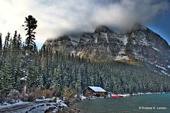 On the Shores of Lake Louise (Andrew E. Larsen) Tags: mountain snow canada mountains cold clouds sunrise landscape rockies cabin scenic canadian best banff potential canadianrockies papalars a3b andrewelarsen