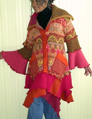 Pink and Orange Tailored Recycled Sweater Coat (brendaabdullah) Tags: original wool fun diy clothing women colorful designer recycled handmade feminine oneofakind knit funky wearableart etsy patchwork multicolor longsleeve ecofriendly reuse deconstructed salvaged pieced upcycle upcycled machinepieced diyfashion recycledsweaters indiefashion ecoconscious reclaimedsweaters brendaabdullah