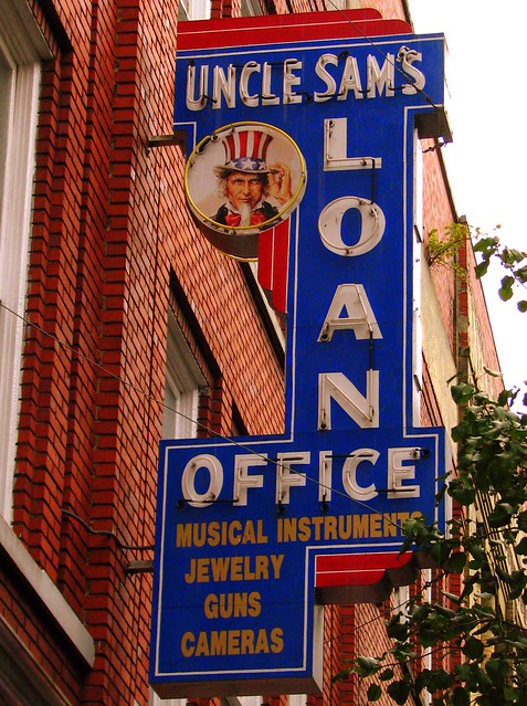 Uncle Sam's Loan Office neon sign