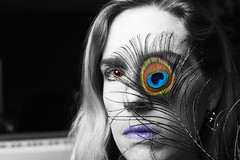 Flightless (CrzysChick) Tags: portrait selfportrait color colour me self myself rebecca copycat feathers feather peacock sp desaturation tribute lowkey flightless selectivecolor selectivecolour selectivecolouring copycats birdfeather peacockfeather selectivecoloring trp