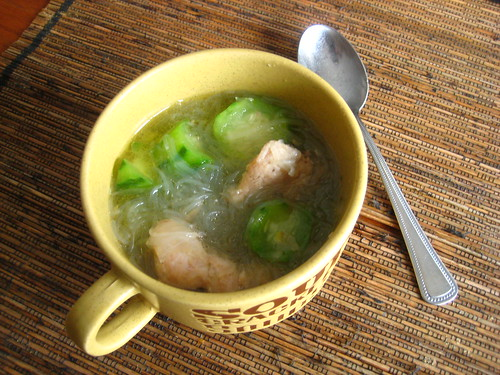 chicken sotanghon with patola (or chicken vermicelli soup with chinese okra)