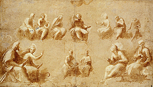 1508  Raphael    The Disputa, Study for the upper half  Brush and brown wash  23,2x40 cm  otam