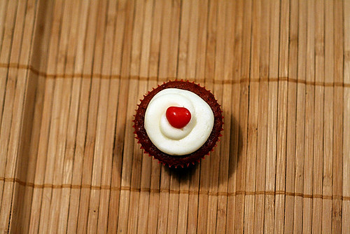one red hot red velvet cupcake