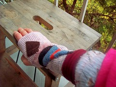 upcycled hand/wrist warmers (stanslaw) Tags: pink hand recycled handmade stripes handsewn wrist ecological sewn fabrics armwarmer handwarmer upcycled