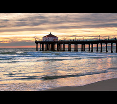Manhattan Beach Pier Sunset (szeke) Tags: ocean california sunset beach water clouds landscape pier losangeles pacific wave best manhattanbeach bestofthebest flickrsbest diamondclassphotographer flickrdiamond qualitypixels