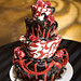 Red and Black Topsey Turvey Cake- Janae Sheilds Photography