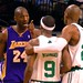 Kobe Bryant getting feisty with Rajon Rondo in the regular season rematch of last years title teams - February 5, 2009