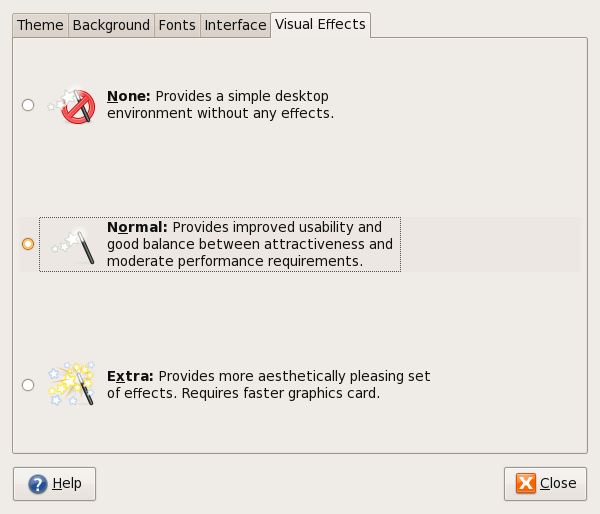 Ubuntu Visual Effects Preferences
