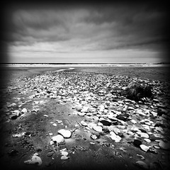Pinhole Beach (Etrusia UK) Tags: uk sea blackandwhite bw beach clouds river geotagged bay landscapes sand nikon stream unitedkingdom nt sandy horizon highcontrast wideangle pebbles pinhole northernireland ni 1020mm nationaltrus