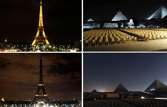 Earth Hour in Paris and Egypt