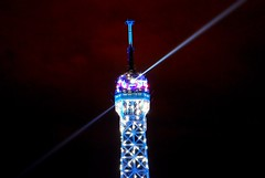 The top part of Eiffel Tower at night (Paris) (natureloving) Tags: blue paris france colour nature closeup nikon nightshot latoureiffel eiffeltoweratnight topofeiffeltower d40x natureloving eiffeltowerinblue
