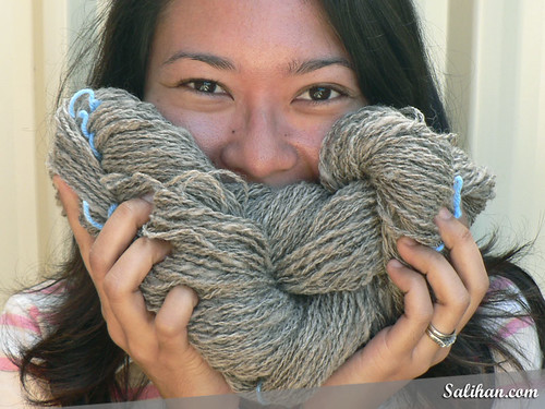 Salihan with Her First Handspun Yarn