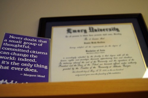 Margaret Mead Quote and Emory Diploma