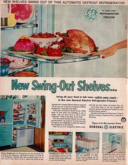 G.E. Refrigerator Ad (saltycotton) Tags: kitchen vintage turkey magazine milk turquoise ad advertisement watermelon 1950s peppers jello refrigerator ge appliances pyrex 1959 generalelectric gelatin theamericanhome