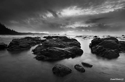 Pacific Ocean in Black and White. Olympic National Park. From January.