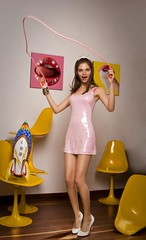 Playful Barbie (-Ninotchka-) Tags: white game fashion digital lazo photography book reina high jump jumping colombia photographer publicidad bogot moda barbie rosa modelo diana corona infantil heels saltando tacones retouch playful juguetes vestido blancos sillas sandoval portafolio cohete fotografa fotgrafa retoque amarillas lentejuelas ninotchka crwn advertaising wwwdianasandovalcom