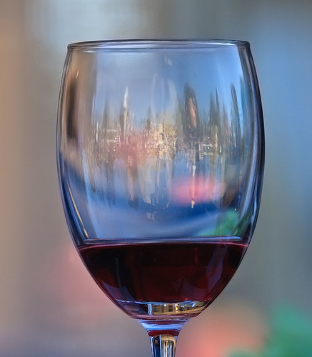 Through a wine glass.