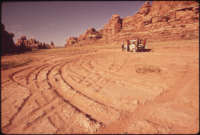 Ruts Left by Off - Road Vehicles in Violation of Park Rules. The Desert Surface Is Fragile; These Tracks Hasten Erosion. Devils Dune Area, Needles Section, 05/1972