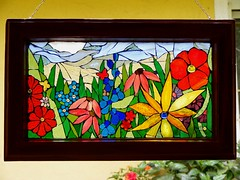 Summer - Mosaic window (stiglice - Judit) Tags: flower window butterfly mosaic stainedglass stainedglasswindow mosaicwindow
