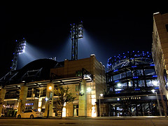 Out in Left Field (ecstaticist) Tags: park light usa sports field architecture night america canon pittsburgh baseball pennsylvania stadium united nation structure professional pa pro conference states 2009 travelo pastime pnc g10 netroots nn09