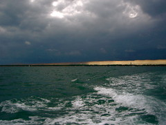 Arcachon/ Cap Ferret: from the boat (camillelisabeth) Tags: sea cloud mer storm black boat sailing nuage bateau orage arcachon noire capferret