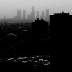 062/365 haze (s t a g e 8) Tags: california city light sky urban bw motion black building silhouette skyline architecture dark fire la blackwhite losangeles nikon downtown darkness smoke highcontrast hollywood desaturated downtownla darkcity 105mm d90 lafire project365 inpraiseofshadows