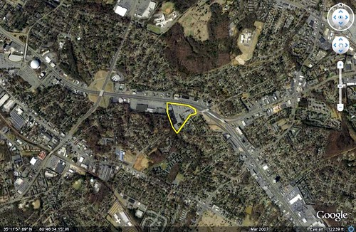 site of new Walmart (image via Google Earth, boundary by me)